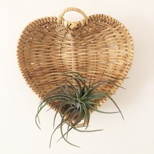 Vintage Wicker Heart Shaped Wall Basket Boho Decor